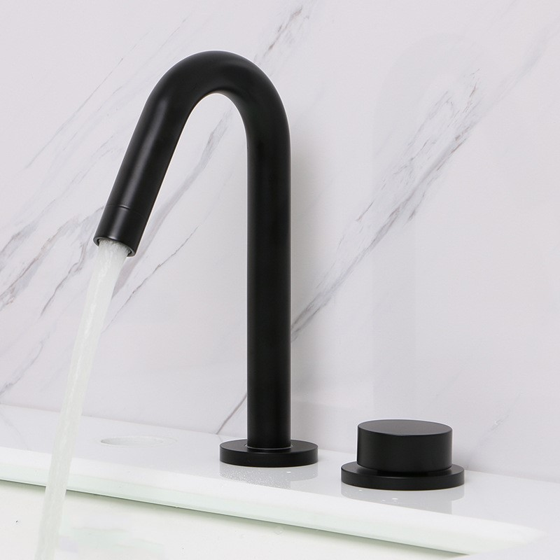 Black Plated Brass Bathroom Sink Faucet Basin Cold Hot