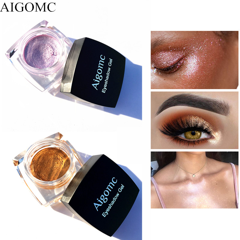 AIGOMC Brand 3D Glitter Eye shadow Cream Metallic Powder Pigment Nude Eyeshadow gel Highlighter Shining Maquiagem makeup