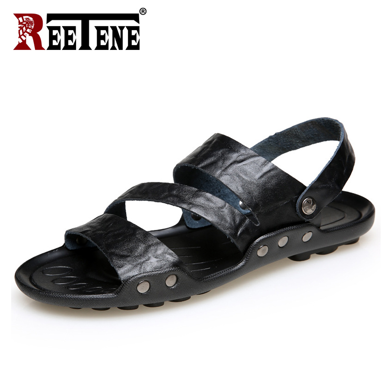 REETENE New Arrive Sandals For Men Cheap Pu Leather Men'S Sandals High Quality Male Shoes Slip On Comfortable Men Flats Size 48(China)