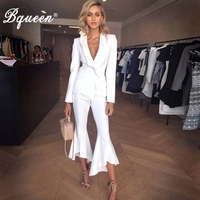 Bqueen 2019 New Women Two Pieces Sets Ruffle Deep V Sexy Fashion Business Pant Suits Set Formal Women Elegant Suit Set