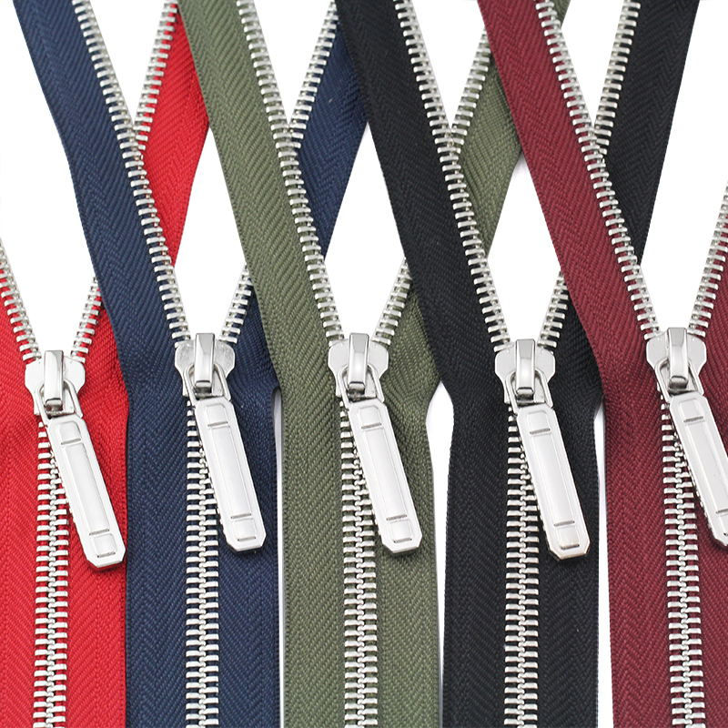 #8 60/70/80/90/100/120/150cm open-end auto lock metal copper platinum plating colorful Y Teeth zippers for clothes garment image