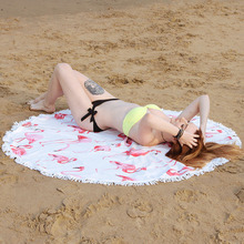 150CM Round Microfiber fashion Flamingo printed Beach towel Tassels large yoga outdoor picnic Circle beach bath blanket