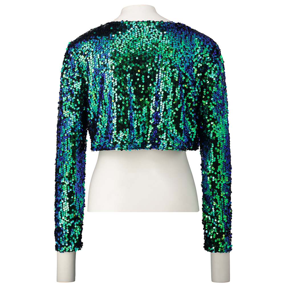 63045ea7a3 US $16.03 25% OFF|Sparkly Sexy Women Sequin Cardigan Jacket Coat Long  Sleeve Short Cropped Bolero Shrug Clubwear Vintage Party Costumes-in Basic  ...