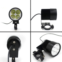 купить Moto HeadLamp E-bike Electric Bike Car Motorcycle Bulb 4 LED Fit For DC12-80V White 20W 1800LM LED Spot Light Headlight дешево