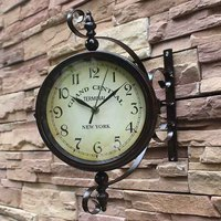 Brown Vintage Double Sided Metal Iron Frame Glass Wall Clock Station Wall Clock Wall Hanging Clocks Station Garden Decor