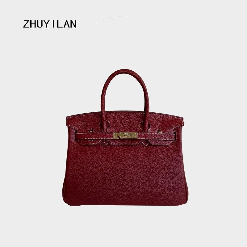 bags for women 2018 Litchi veins cowhide shoulder messenger bag genuine Leather handbag цена и фото