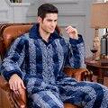 Conjuntos de Homens de Pijama de Flanela Pijamas de inverno dos homens Espessamento acolchoado poliéster lapela Masculino Sleepwear Homewear Homens Lazer longo-manga