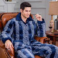 Winter Men's Pajamas Thickening quilted Flannel Men Pyjama Sets Leisure long-sleeved polyester lapel Male Sleepwear Homewear Men