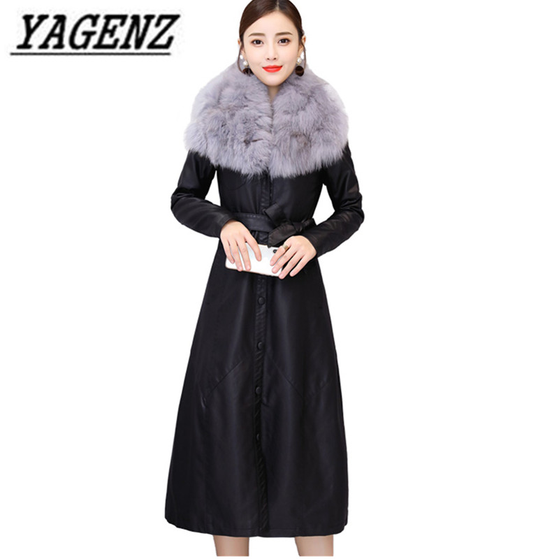 Brand Women Autumn Winter Pu   leather   Jacket Coat Winter Thick Warm Fur collar Long Windbreaker Coat Slim Female   leather   Jackets
