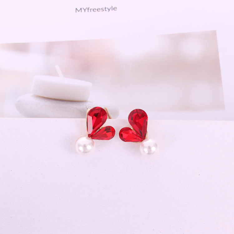 Earring Fashion Elegant Shining Red Gray Color Heart Crystal Pearl Stud Earrings Boucles D'oreilles Pour Les Femmes Brincos
