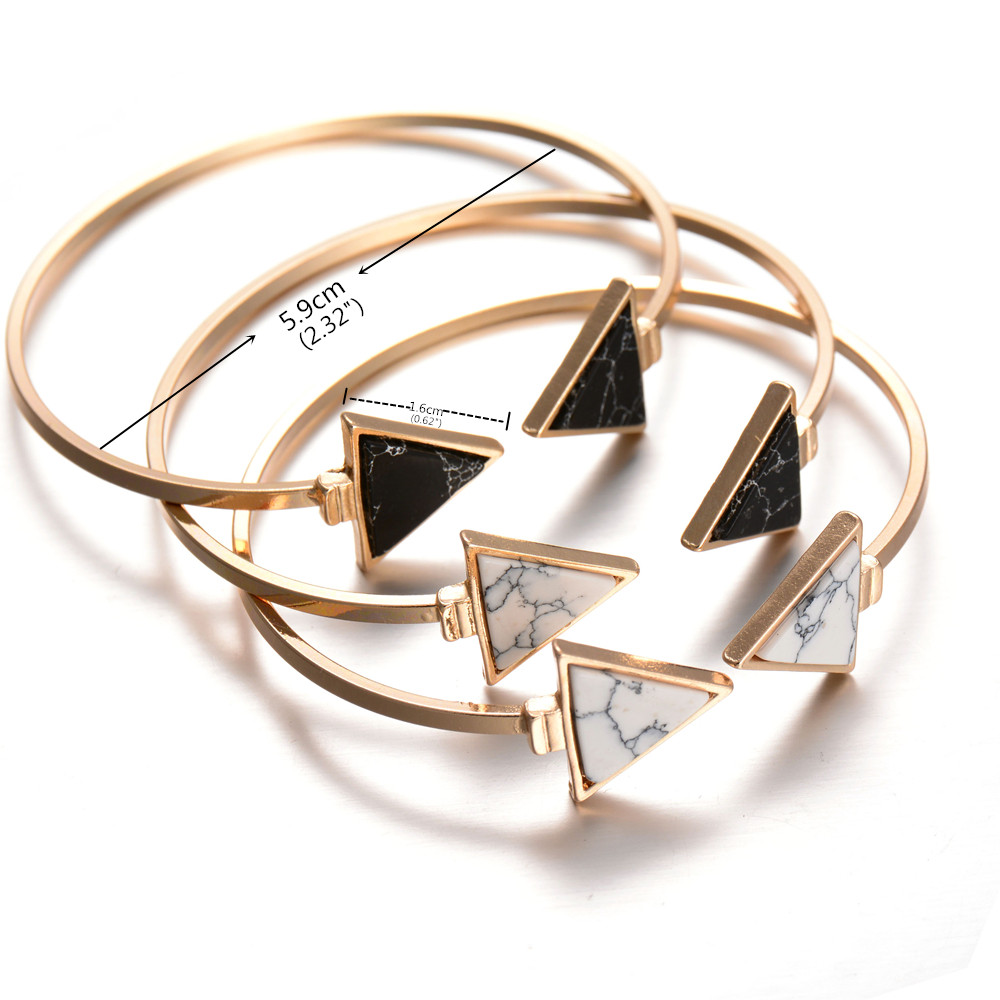 New Gold Tone Punk Trendy Marbleized Stone Cuff Bangle Bracelet