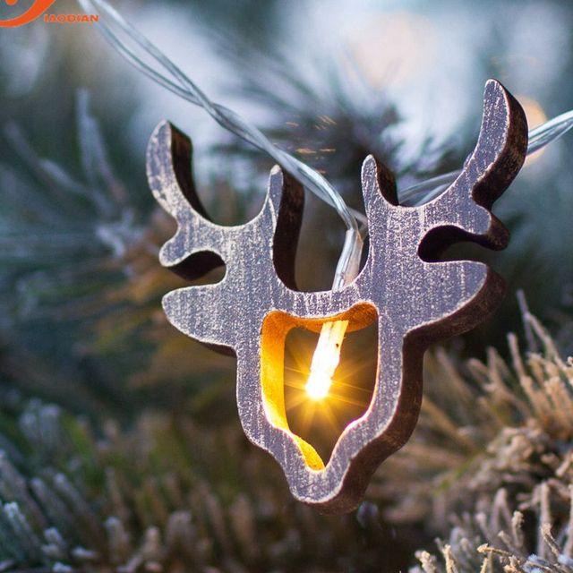 houten rendieren kerstverlichting 10 leds batterij operated tauren licht hout string verlichting fairy holiday kerstman dier