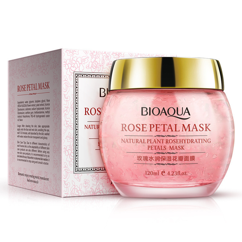 BIOAQUA Rose petals sleep mask Fade out fine lines face mask for face care anti oil skin whitening skin care facial mask 120ml