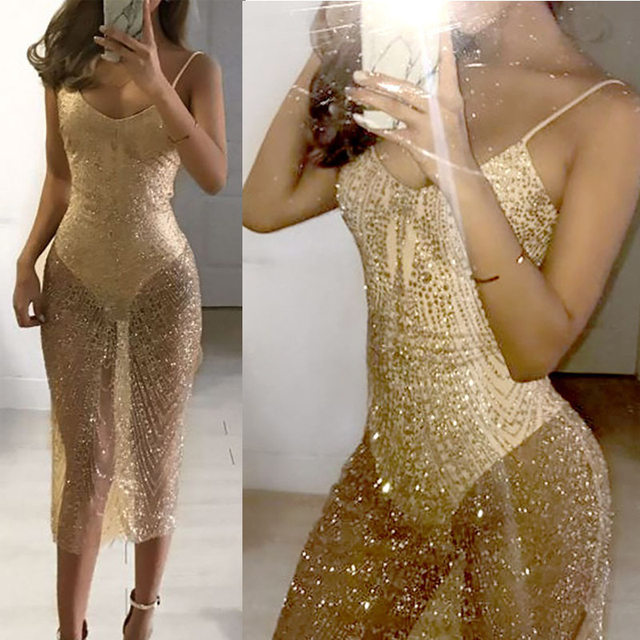 7a13cec16b45 Sexy Sheer Glitter Silver Gold Sequin Dresses Women V Neck Side Split  Spaghetti Strap See Through Mesh Bodycon Exotic Dress