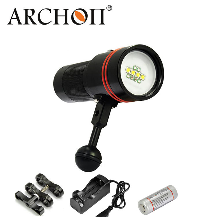 Archon D34V/W40V 4 Colors LED Diving Torch Scuba Dive Flashlight Underwater Video Light 32650 Battery and Charger Included