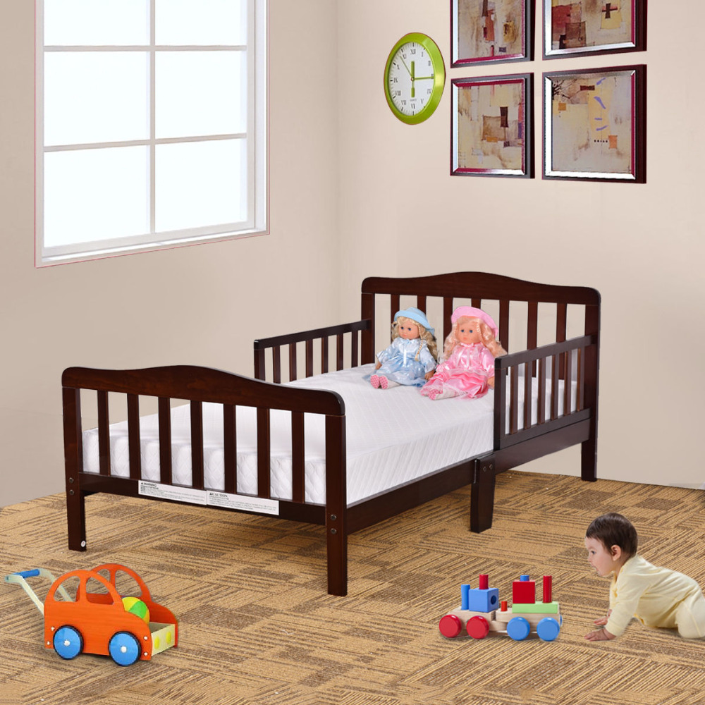 Goplus Kids Beds Wood Bedroom Furniture With Safety Rails