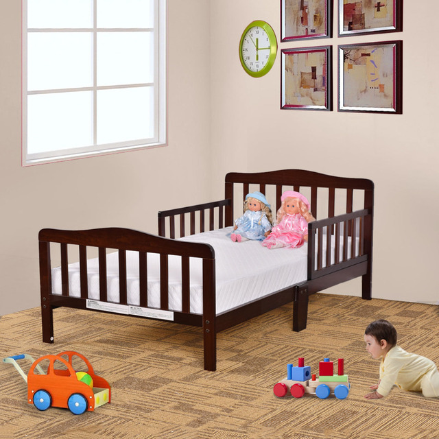 Goplus Kids Beds Wood Bedroom Furniture with Safety Rails Fence Baby ...