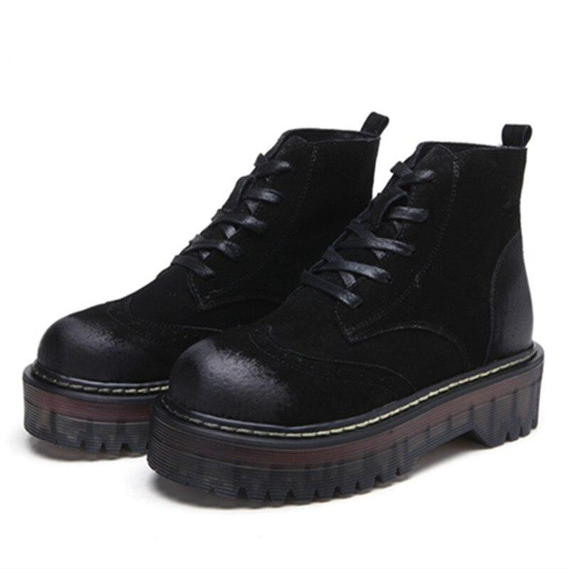 ФОТО Autumn Winter Fashion Women's Lace-Up Sexy Women Boots Platform punk Black Ankle boots Combat Ankle Martin Boots Plus Size 34-40