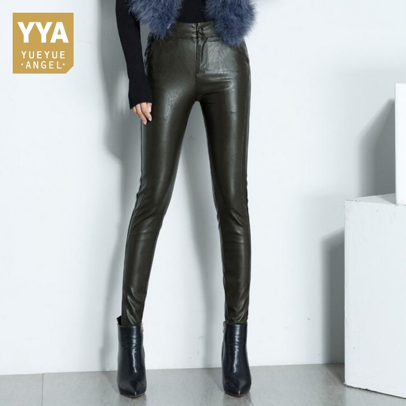 2019 Winter Women Sexy Real Leather Skinny Pants Office Lady Fleece Lining Trousers High Waist Sheepskin Leather Pencil Pants