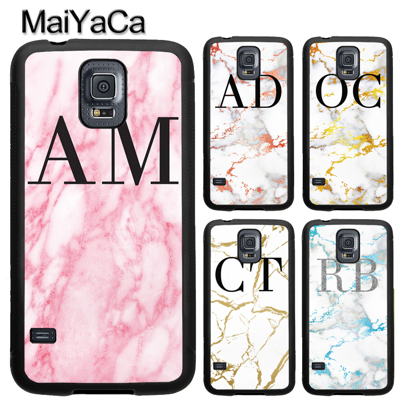 MaiYaCa PERSONALISED MONOGRAMMED MARBLE Full Cover Rubber Case for Samsung Galaxy S8 S9 Plus S4 S5 S6 S7 edge Note 8 Note 5 Case