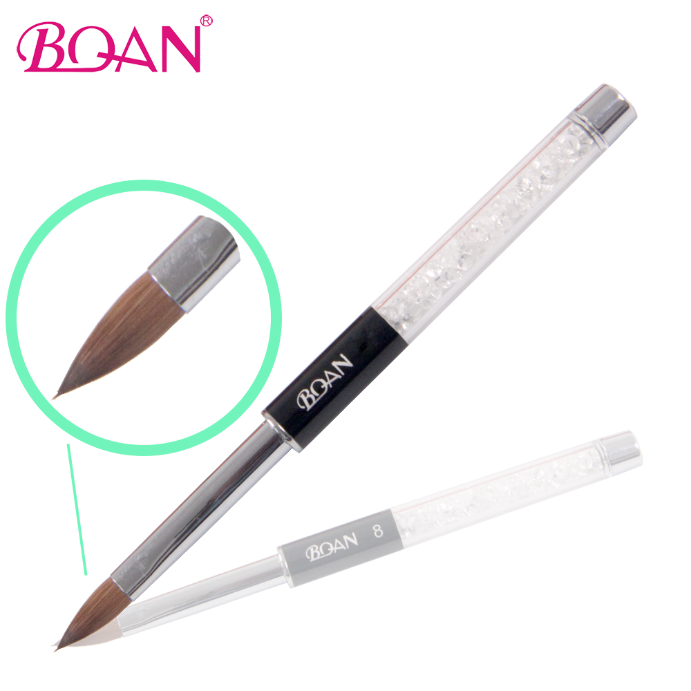 BQAN Retail 1 Pc 10# Kolinsky Sable Nail Art Brush Acrylic Brush Manicure Art Tool Metal Handle With Rhinestones