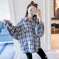 Pregnant women shirt long sleeve 2018 autumn new fashion cotton linen plaid maternity dress shirt loose large size blouse