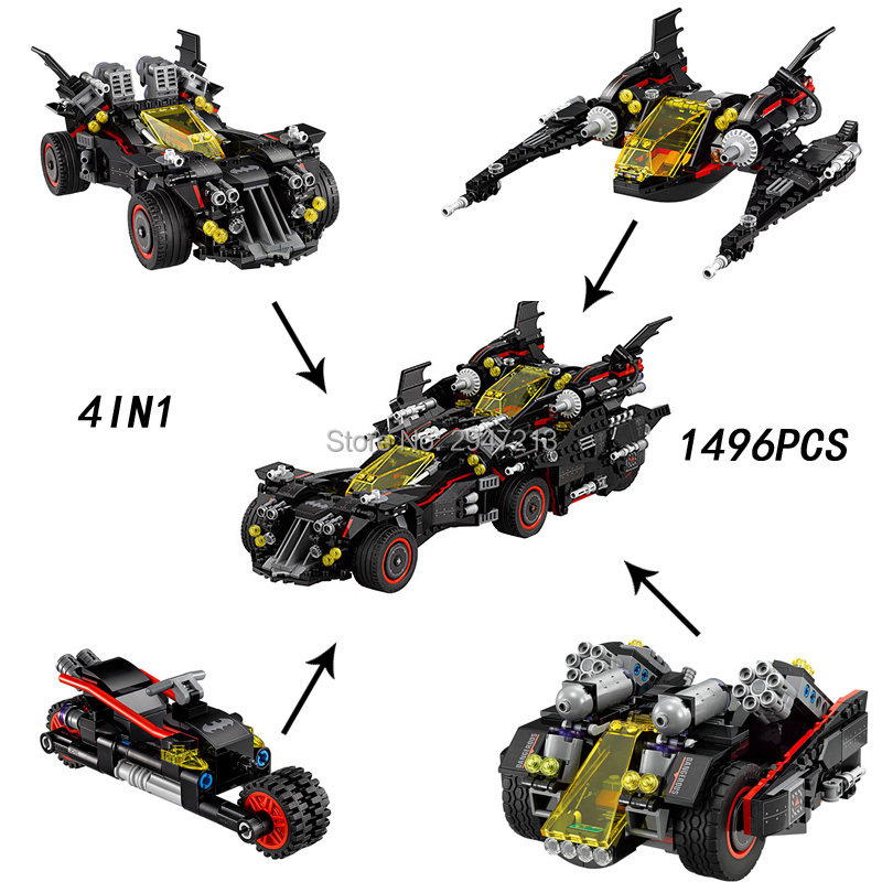 hot compatible LegoINGlys Batman 4in1 Ultimate bat car Building Blocks modle Marvel Super Hero Avengers figures brick toys gift hot compatible legoinglys marvel super hero avengers batman fighter building blocks modle robin clown figures brick toys gift