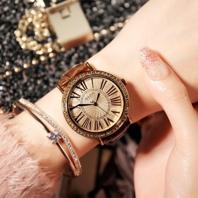 Top Julius Lady Women's Watch Retro Rhinestone Fine Fashion Large Hours Dress Bracelet Leather Big Girl Birthday Gift Box
