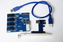 PCIe 1 a 3 Slots PCI Express 1X Riser Cartão Mini ITX Adaptador Externo para 3 Slot PCI-e PCIe Multiplicador de Porta Cartão