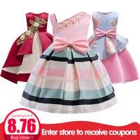 Детские платья для девочек, платье-пачка в полоску праздничное платье принцессы Одежда для девочек от 2 до 10 лет vestido/платье для девочек