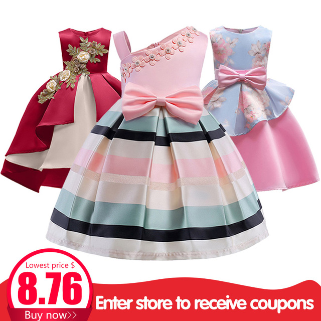 Kids dresses for girls baby stripe tutu dress princess party dress girls clothes for 2-10 year clothing vestido girls dress