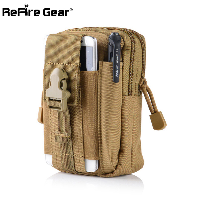 Refire Gear Camouflage Military Tactical Waist Bag Men Army Airsoft Paintball Pouch Belt Bag Small Durable Motorcycle Waist Pack