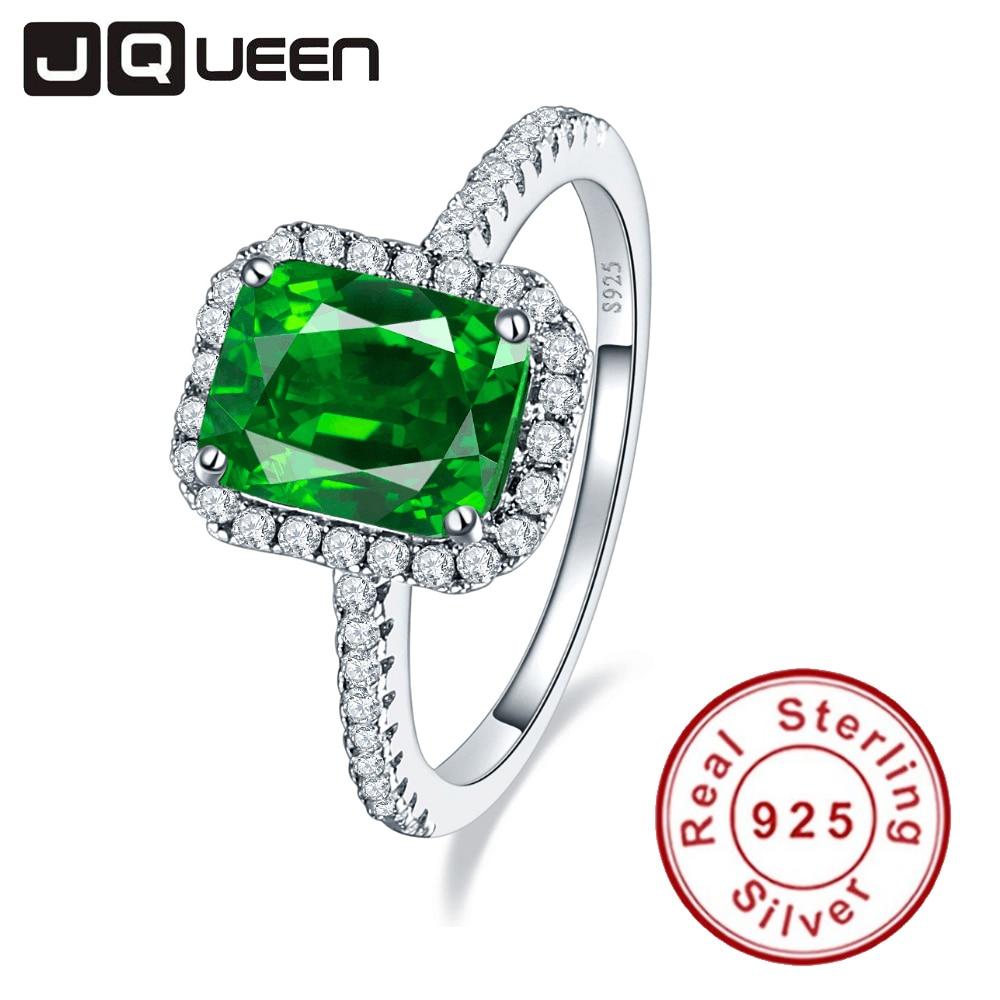 JQUEEN 3.6ct Nano Emerald แท้ 925 แหวนเงินผู้หญิง Brincos หมั้นงานแต่งงานแหวนสแควร์ที่น่าตื่นตาตื่นใจกับกล่อง-ใน ห่วง จาก อัญมณีและเครื่องประดับ บน   1