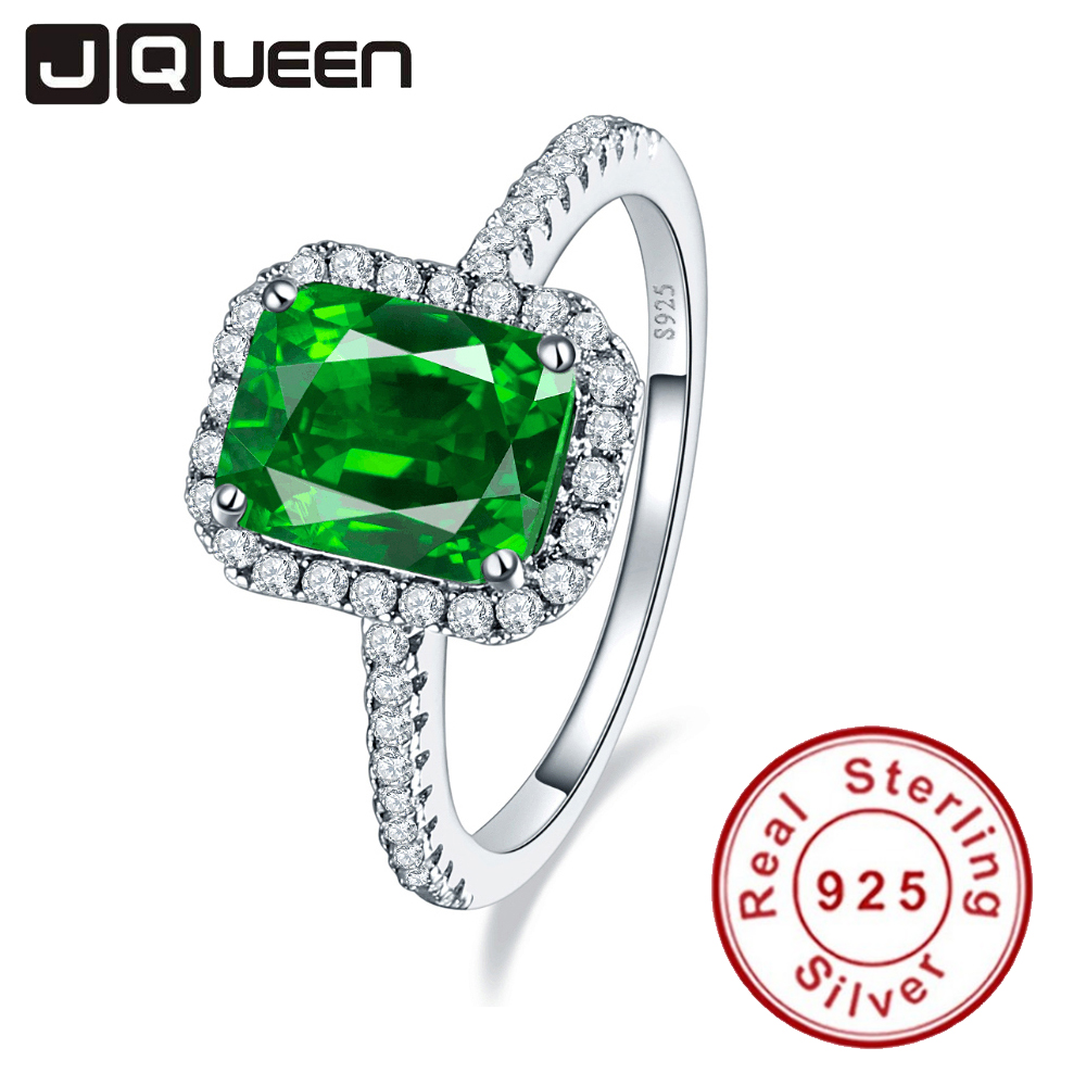 JQUEEN 3 6ct Nano Emerald Solid 925 Sterling Silver Rings For Women Brincos Engagement Wedding Ring