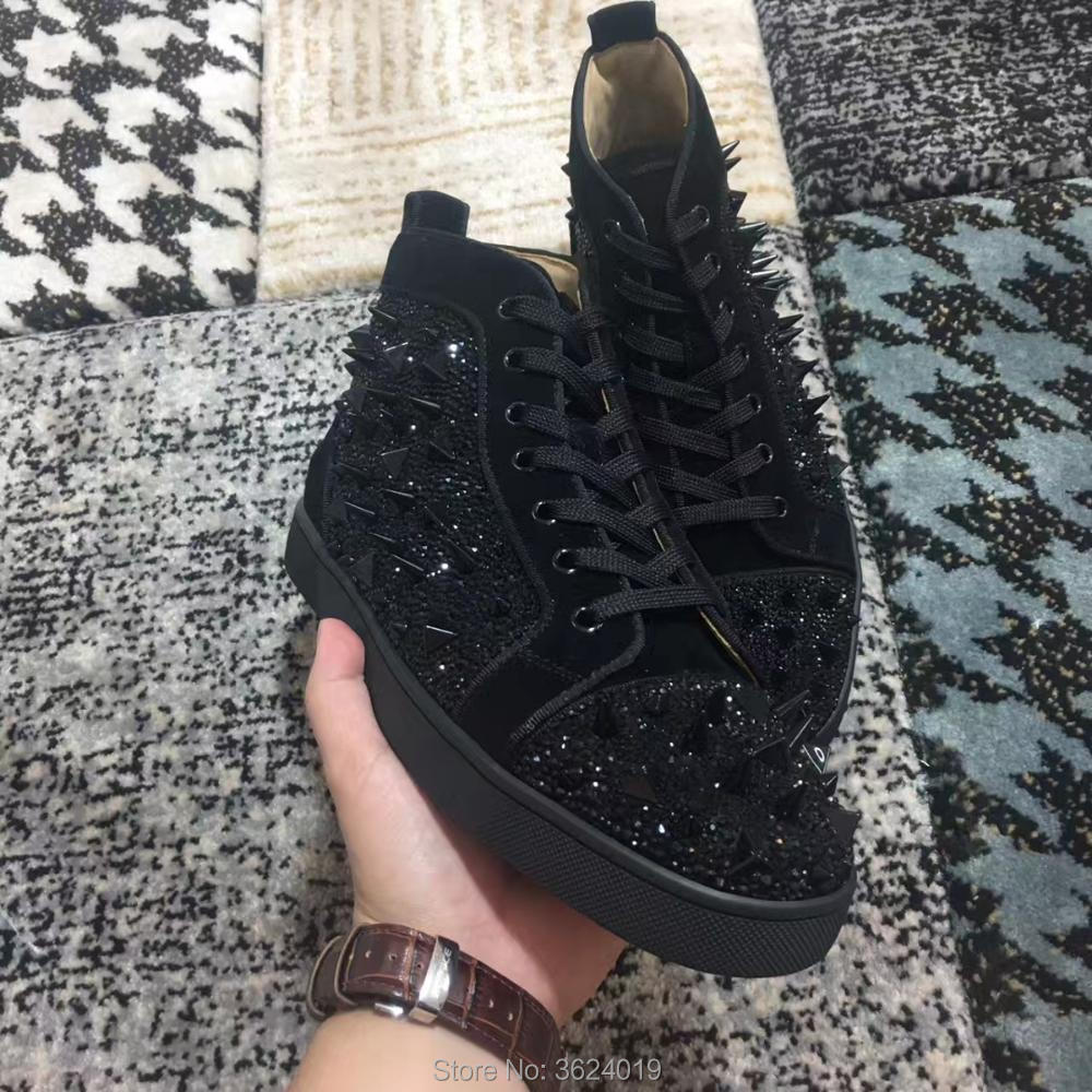 Strass Cristaux Noir Chaussures Sneakers Cuir Diamant Rivets Lacent Cut Casual Swarovski 2018 Fond High Plat Rouge En Andgz Cl qRt48A
