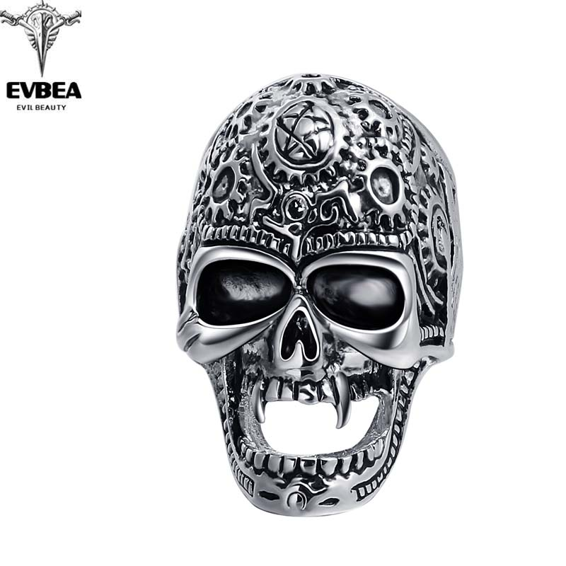 Black Friday Stretch Rock Roll Tattoo Punk Skull Adjustable Silver Couple Rings Mens Party Jewelry Accessories EVBEA R264