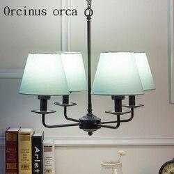 Nowoczesna prosta tkanina żyrandol pokój dziecięcy pokój gościnny sypialnia amerykański retro żelazny żyrandol darmowa wysyłka w Wiszące lampki od Lampy i oświetlenie na