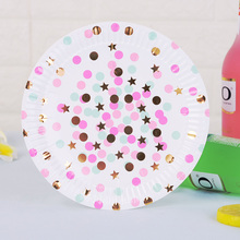 60pcs/lot Disposable Plates Tableware Paper Dishes for Dinner Cakes Party Supplies