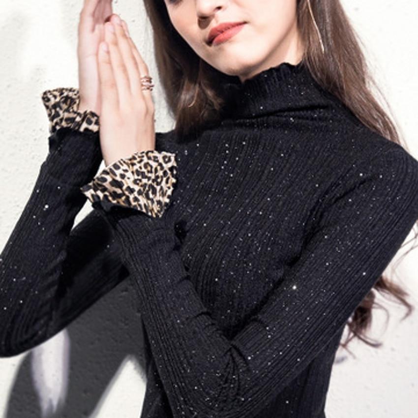 Leopard Patchwork Sweater Women Bling Slim Formal Wear Flare Sleeve Sweater Pullover Knitting Autumn Winter 2019 Jumper M92701