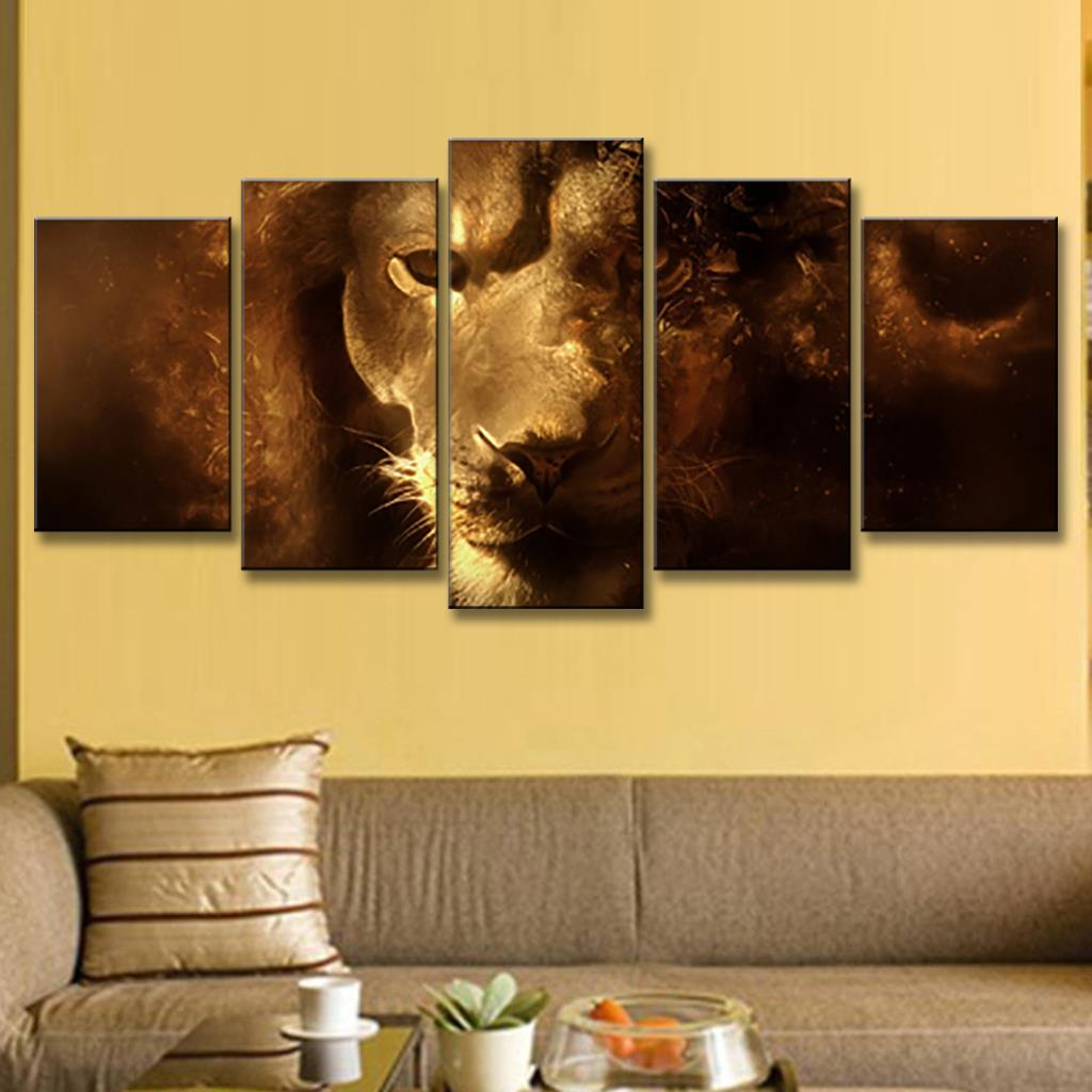 5 Pcs/set Animals Lion Canvas Painting modern Hanging Art Lion King ...