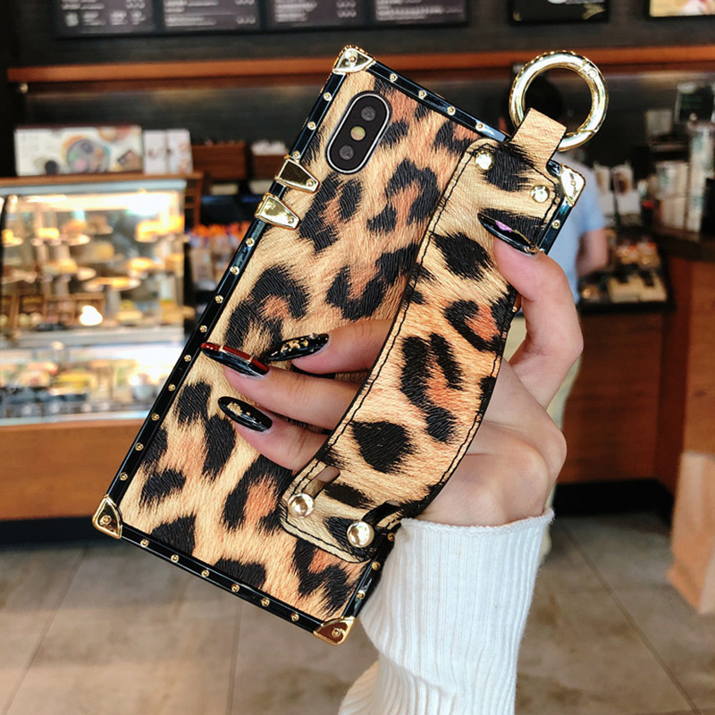 Luxury brand Square Leopard print rose flower case for iphone 7 8 6 6s plus girl women phone case for iphone X XS Max Xr cover (1)