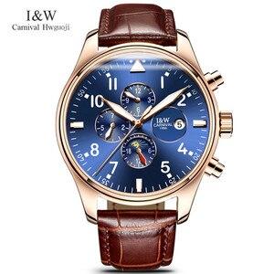 Image 2 - קרנבל למעלה מותג יוקרה Mens שעונים ספיר אופנה מכאני שעון יד משולב 6 ידיים ירח שלב עמיד למים reloj