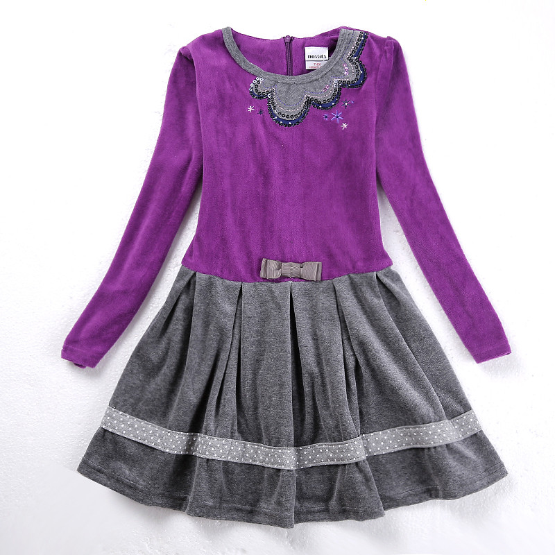 Girls  dresses nova kids wear long sleeve dresses children clothes embroidery baby girls clothing summer girls dresses