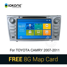 IOKONE Car DVD Video Player GPS navi Stereo for Toyota Camry 2008 2009 2010 2011 With Bluetooth radio multimedia RDS SWC 8G card