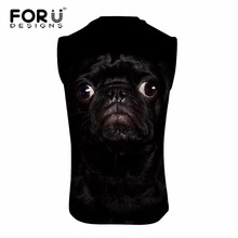 FORUDESIGNS Cool Pug Dog Printing Men Tank Tops Summer Sleeveless Fitness Top Shirts for Man Brand Designer Bodybuilding Homme