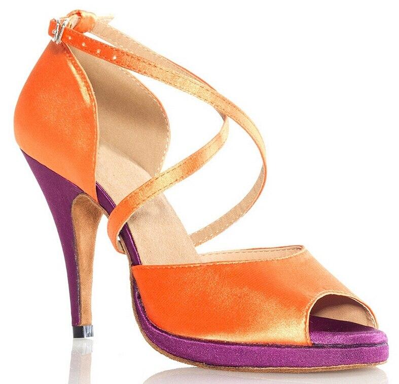 Nouveau femmes Orange Satin plate-forme Salsa salle de bal Tango chaussures de danse latine chaussures de danse toutes les tailles