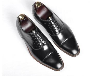 Zapatos de vestir hechos a mano de hombre con cordones de cuero genuino boda novio patchwork formal negocios oxfords Goodyear costura zapatos derby