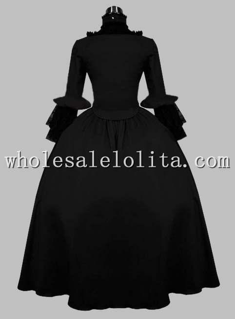 Готический Черный Бархат Викторианской Эпохи Dress Хэллоуин Бал-Маскарад Тема Костюм