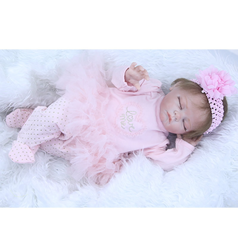 Realistic Sleeping 22 Inch Reborn Babies With Hair Cloth Body Lifelike Silicone Baby Newborn Brinquedo Kids Birthday Xmas Gift can sit and lie 22 inch reborn baby doll realistic lifelike silicone newborn babies with pink dress kids birthday christmas gift