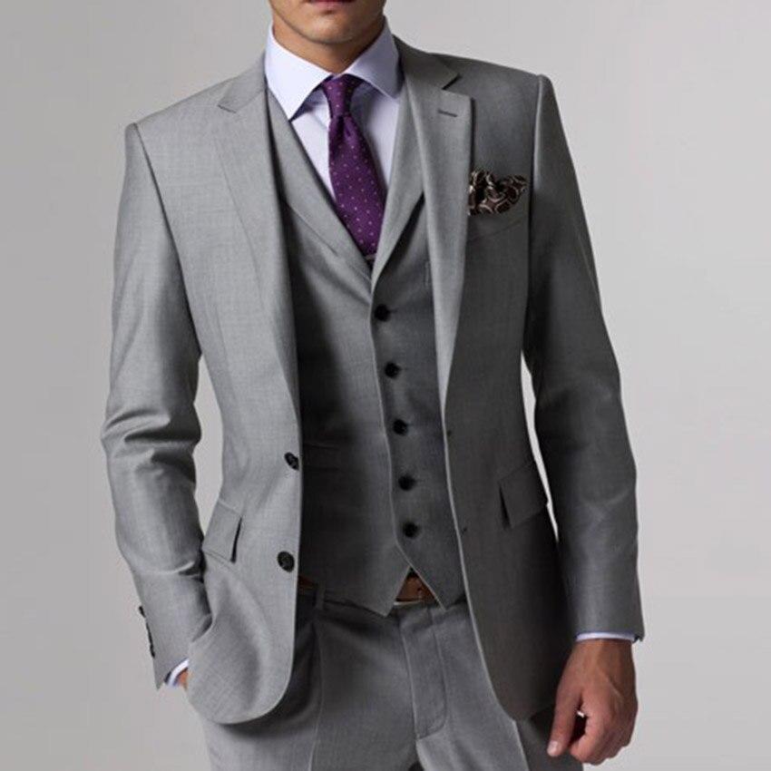 Серый Свадебный Смокинг на заказ серые костюмы серый костюм жениха мужской серый смокинг куртка, 2017 серый свадебный смокинг, 3 предмета серы